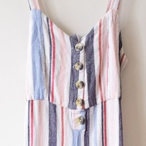 Linen Striped Summer Romper / Jumpersuit